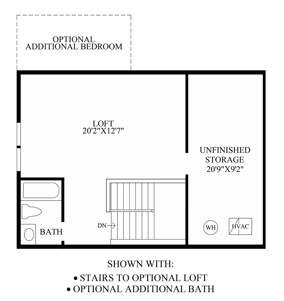 Stairs to Optional Loft & Additional Bath Floor Plan