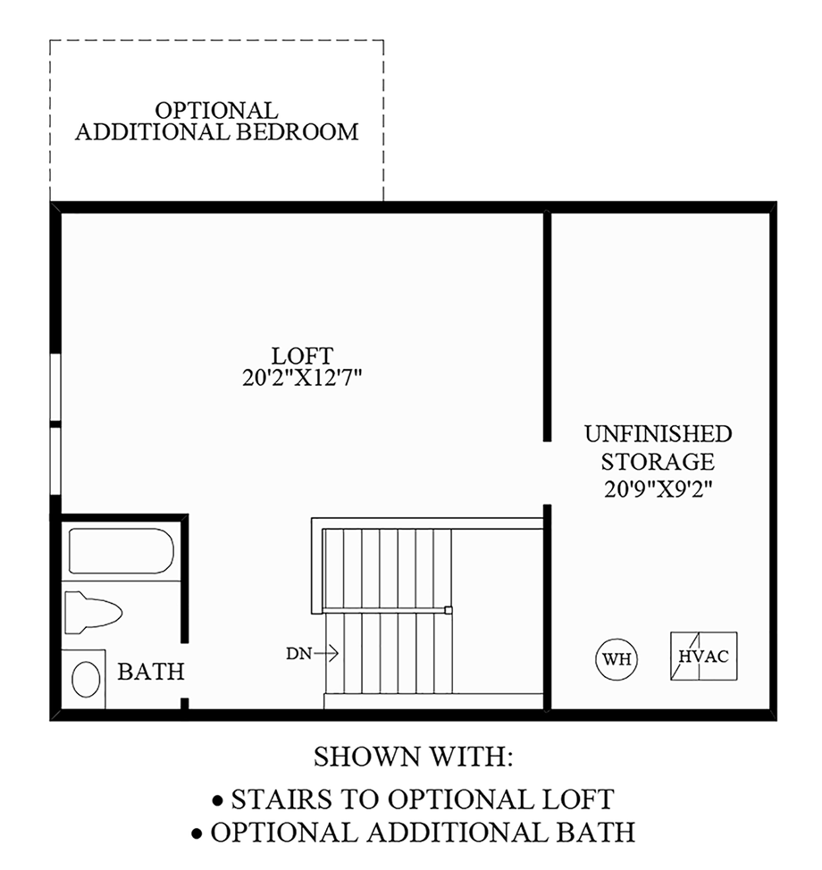 Stairs to Optional Loft & Additional Bath Floor Plan