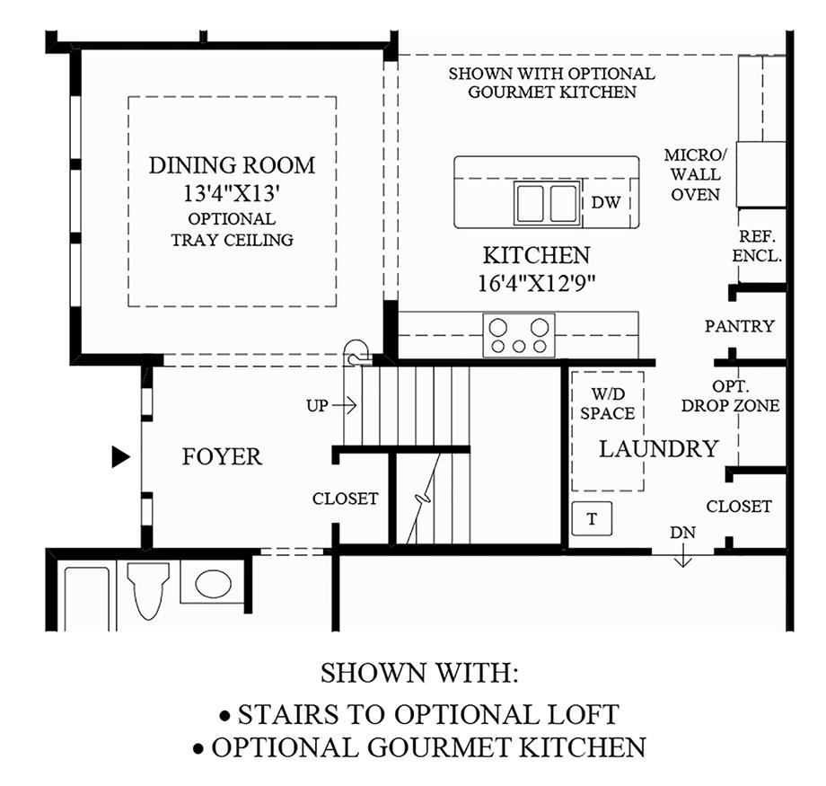 Stairs to Optional Loft & Gourmet Kitchen Floor Plan