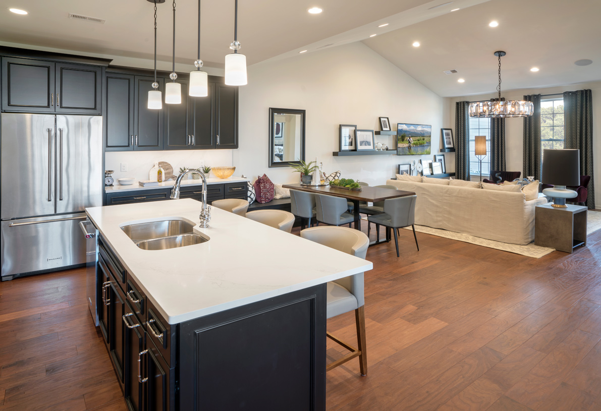 Stunning hardwood floors in the kitchen and great room