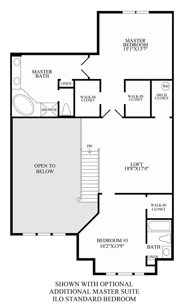 Optional Additional Master Suite in Lieu of Standard Bedroom