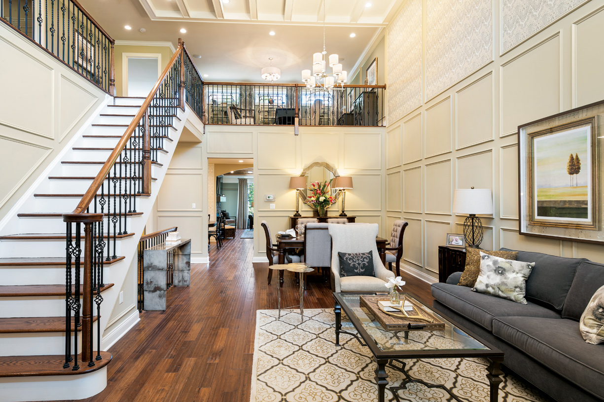 Two-story foyer and living room