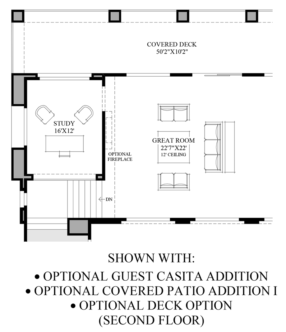 Optional Guest Casita/Patio/Deck (2nd Floor) Floor Plan