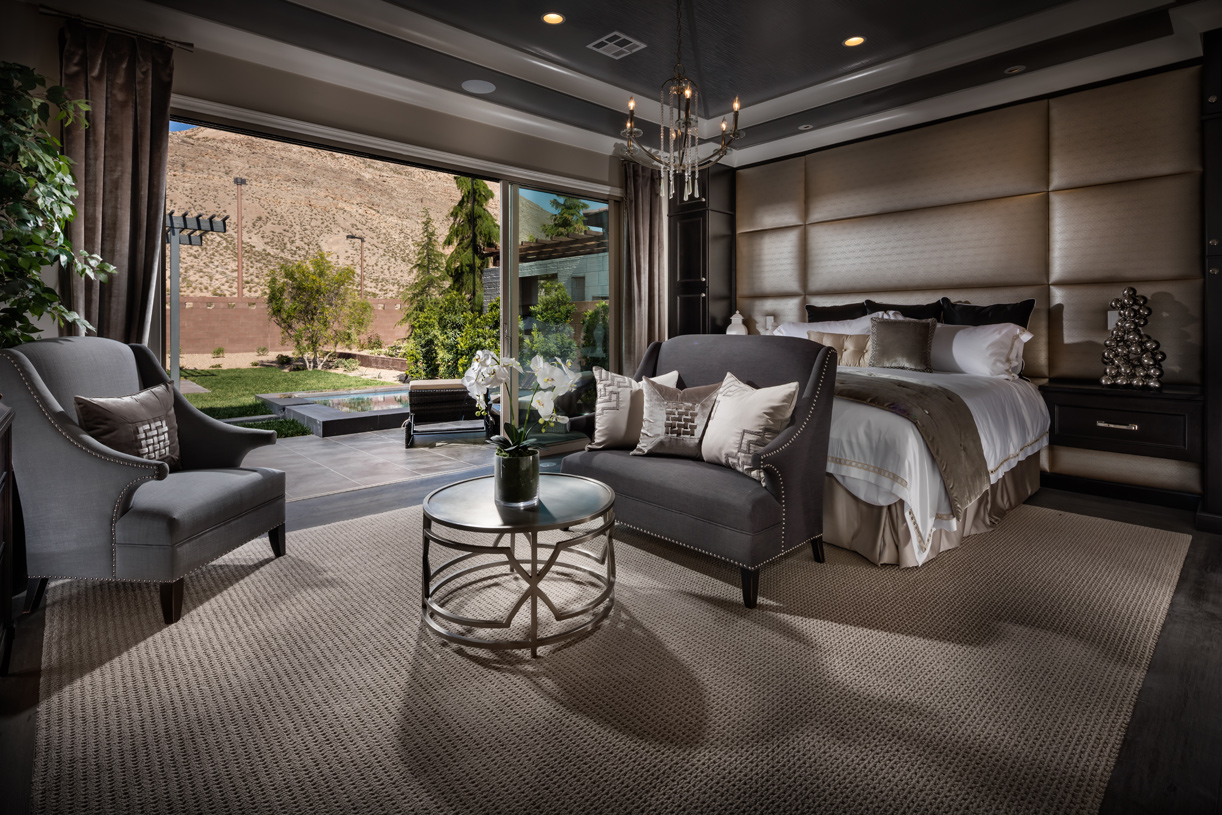 Beautiful primary bedroom suite with tray ceiling