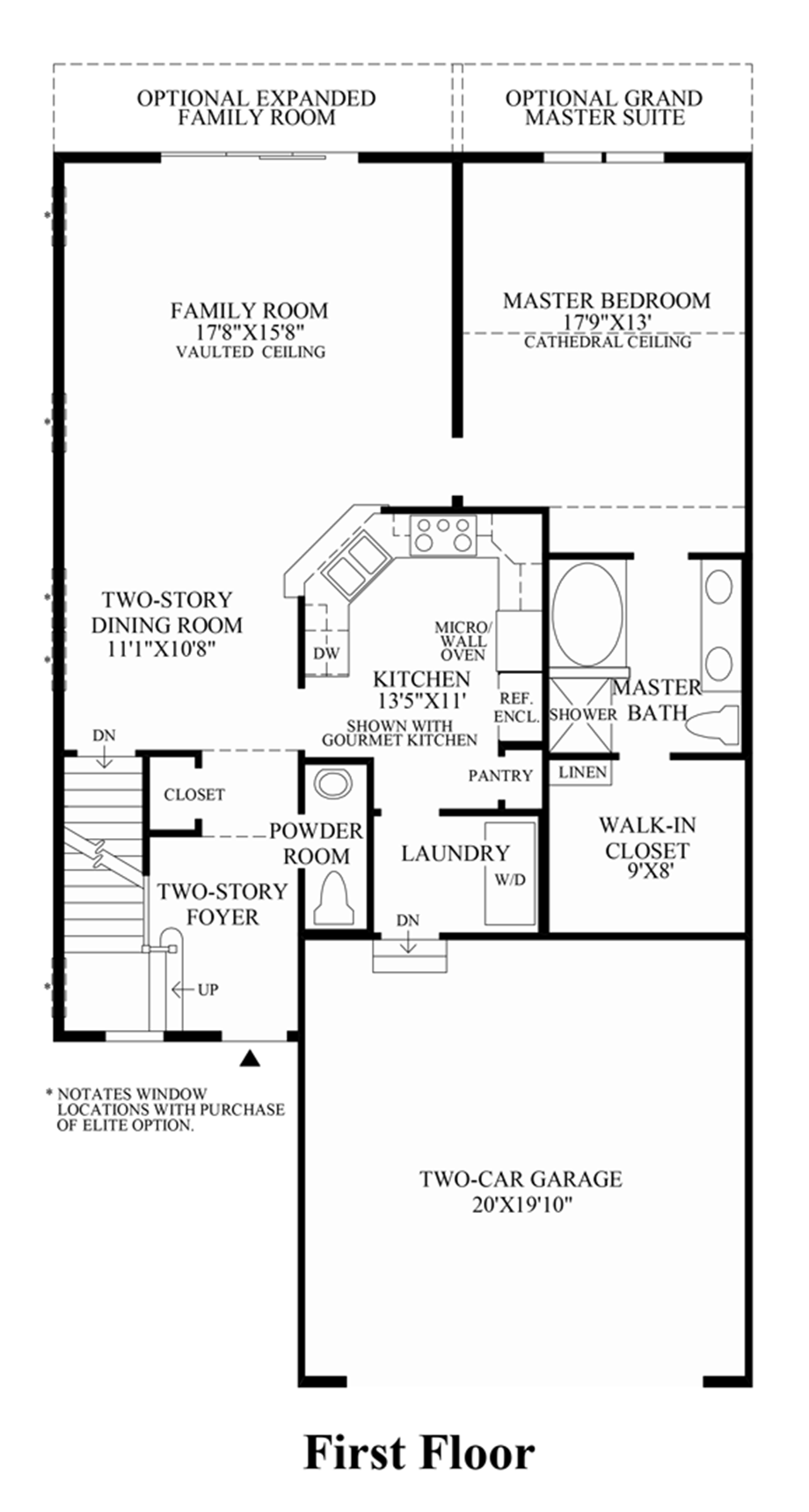 Newtown woods townhome collection the tamarack home design for First floor master bedroom floor plans
