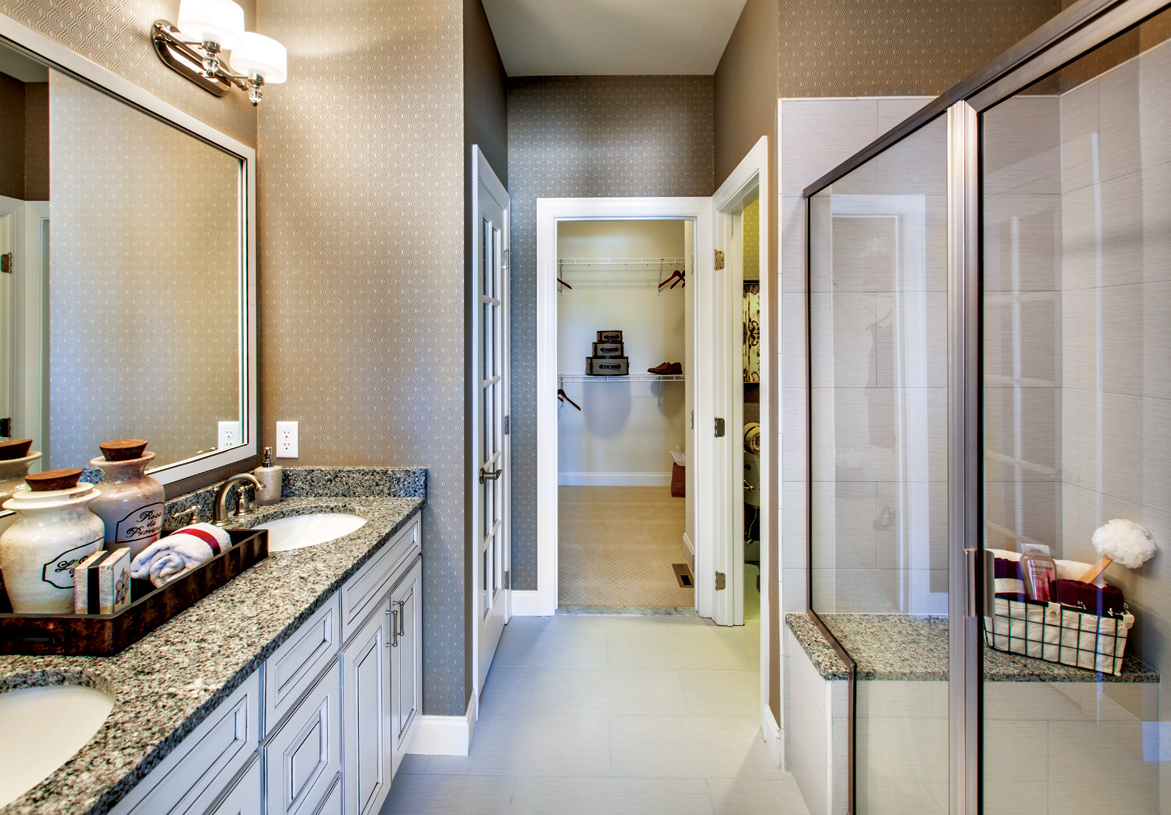 Primary bath with large seated shower