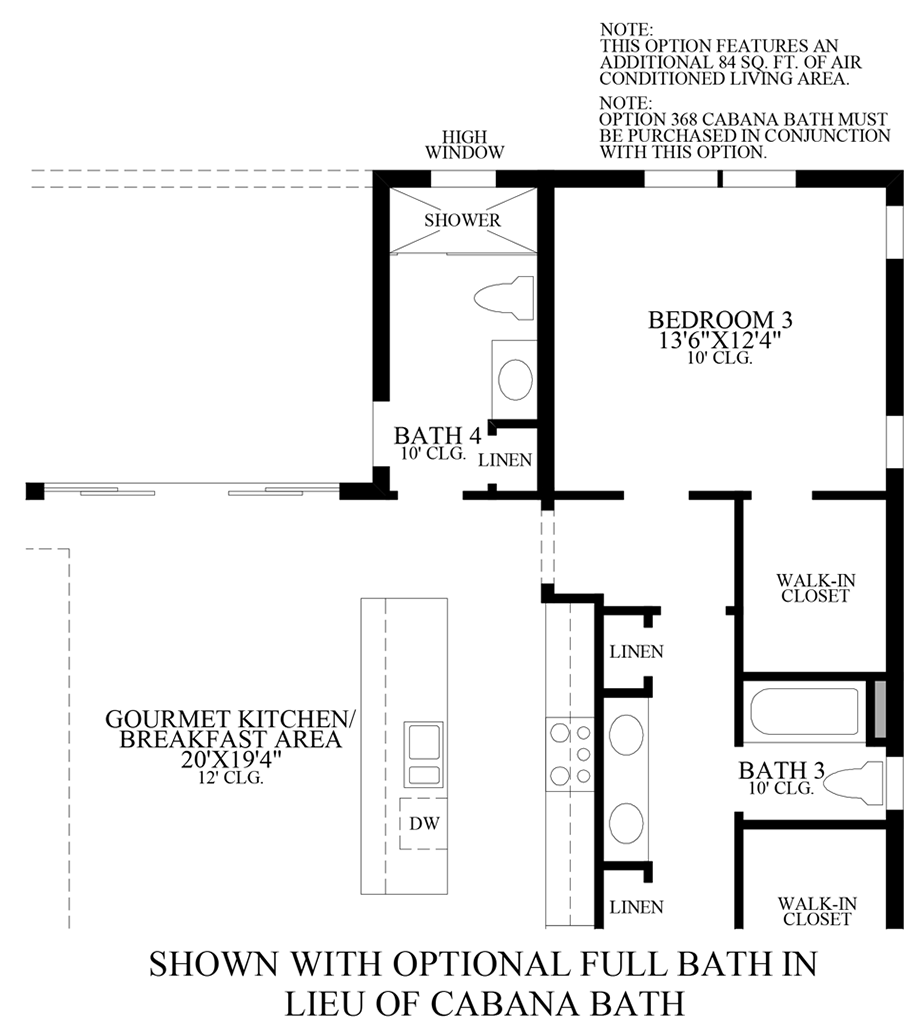 Optional Full Bath ILO Cabana Bath Floor Plan
