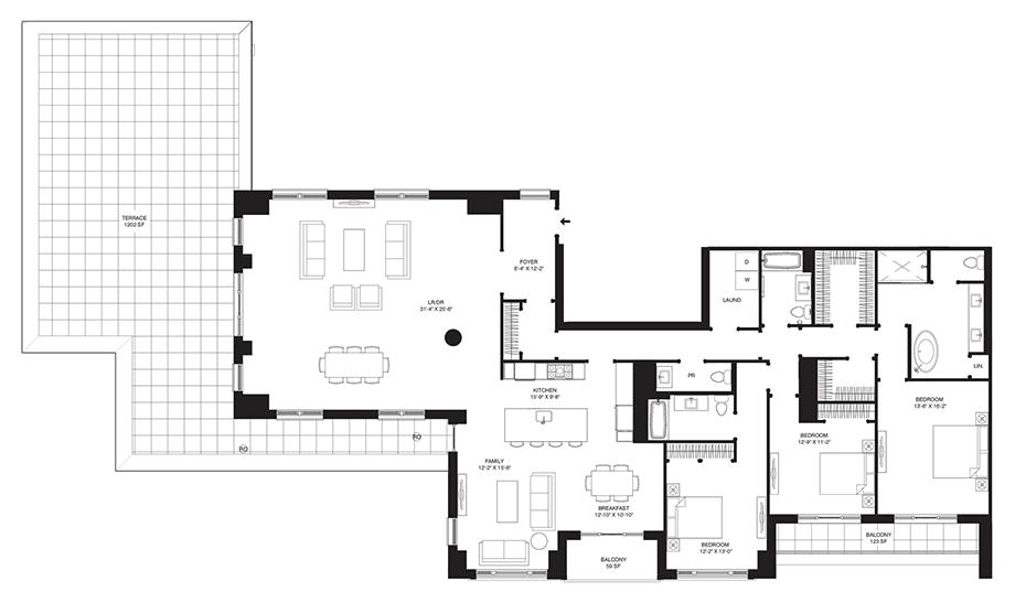 Residence 703 Floor Plan