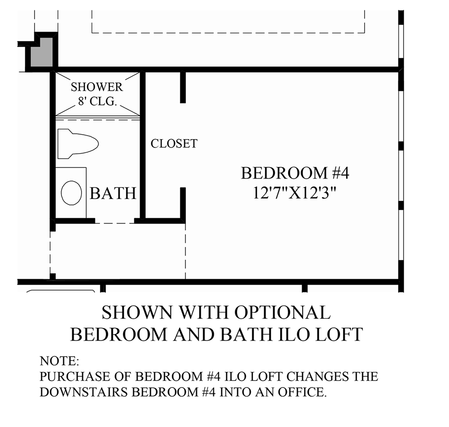 Optional Bedroom and Bath ILO Loft Floor Plan