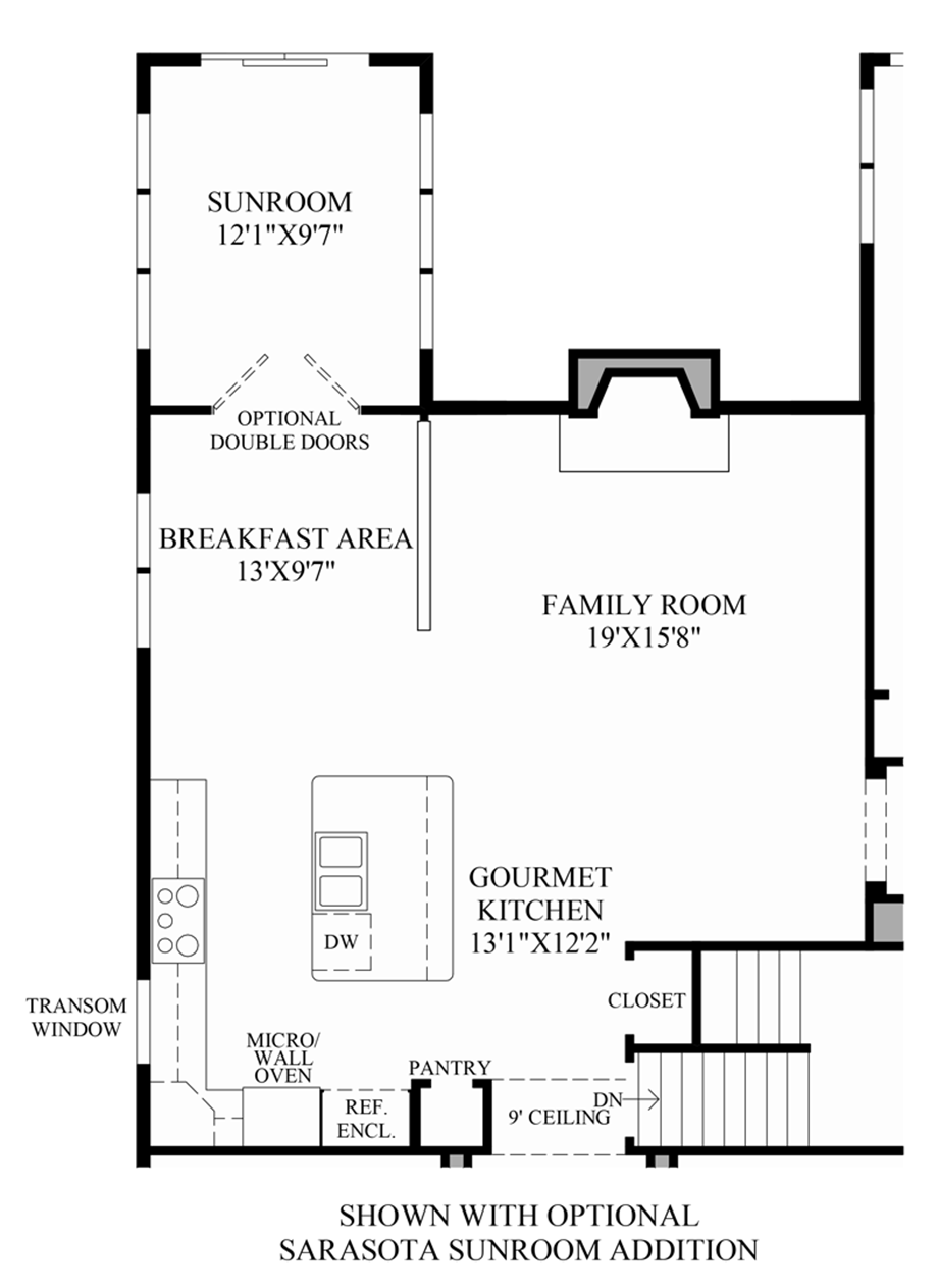 Optional Sarasota Sun Room Addition Floor Plan
