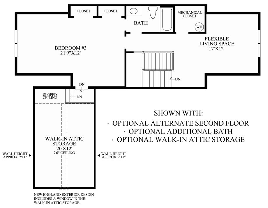 Optional Alternate 2nd Floor, Additional Bath & Walk-In Attic Storage Floor Plan
