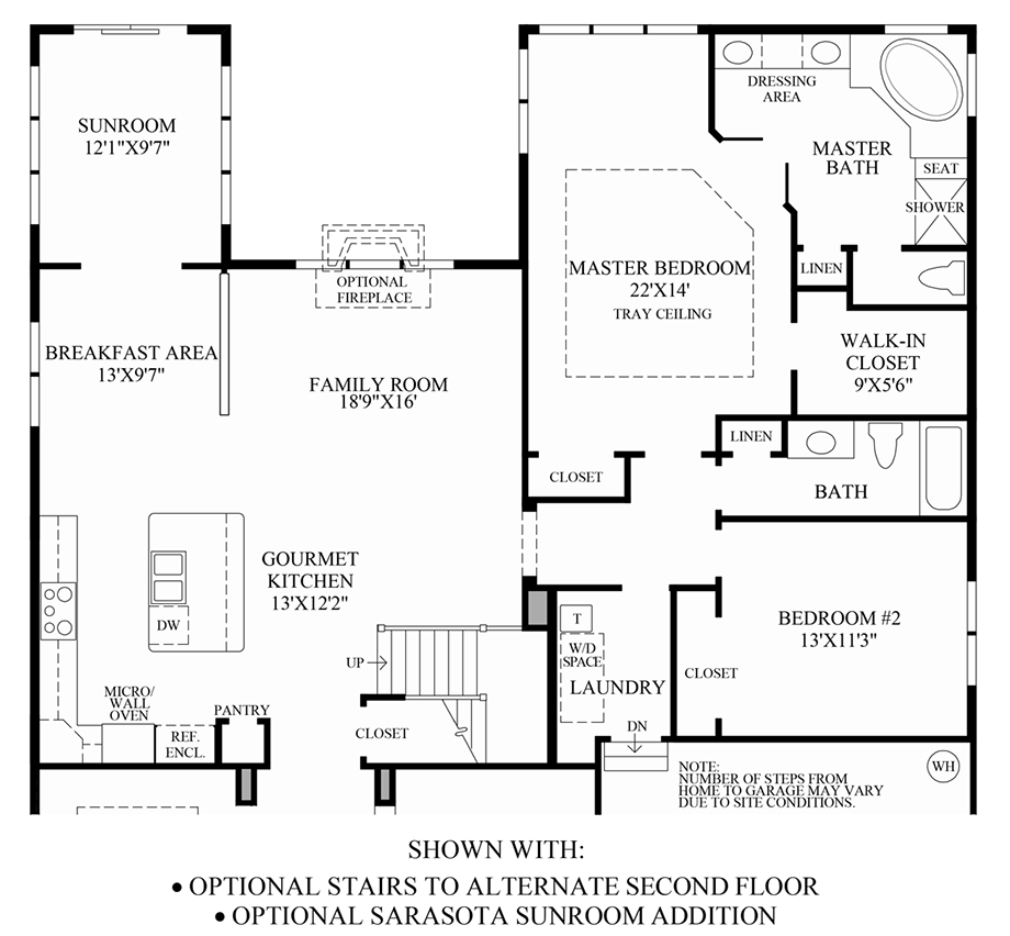 Optional Stairs to Alternate 2nd Floor & Sarasota Sunroom Addition Floor Plan
