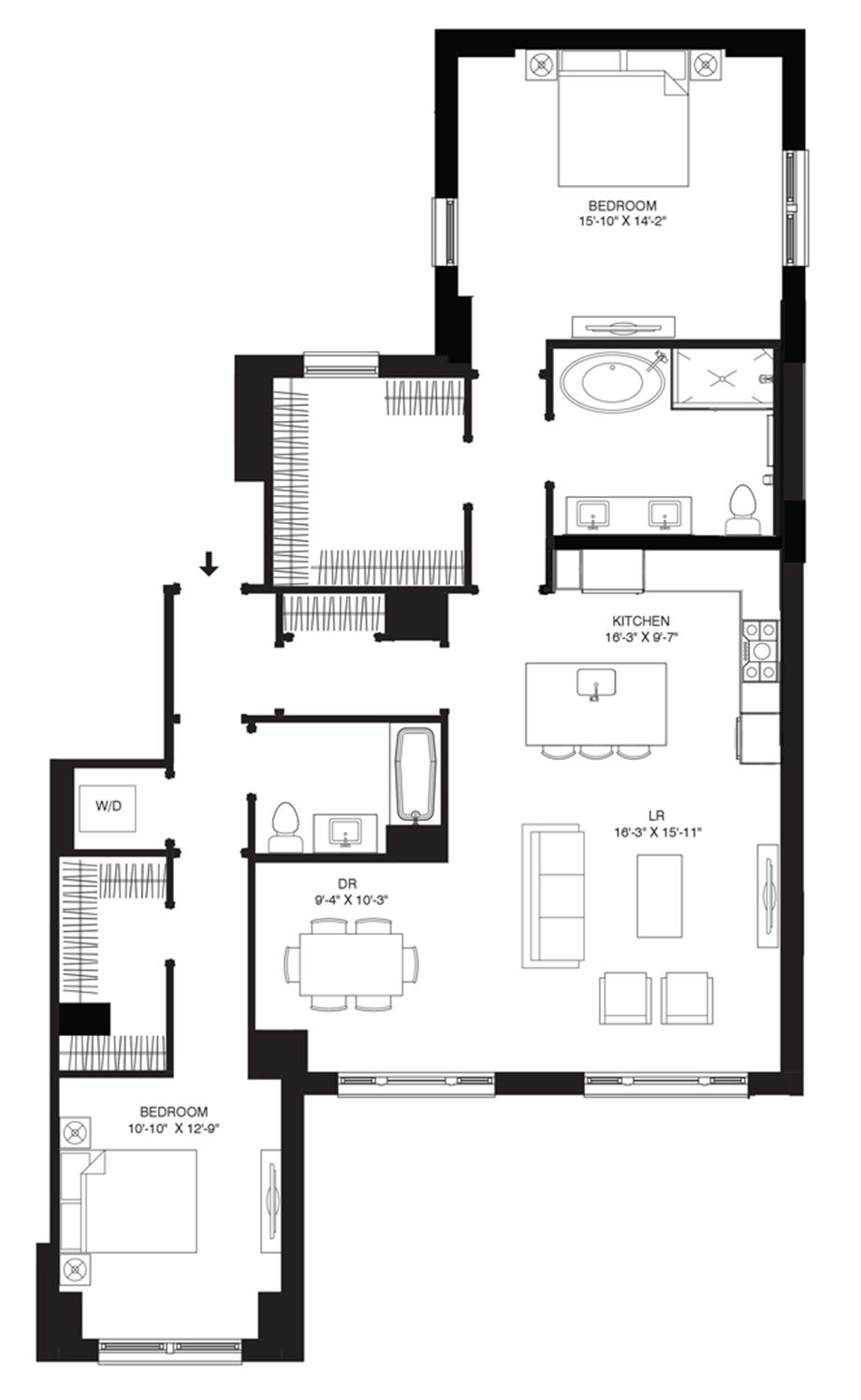 Residence 201 Floor Plan