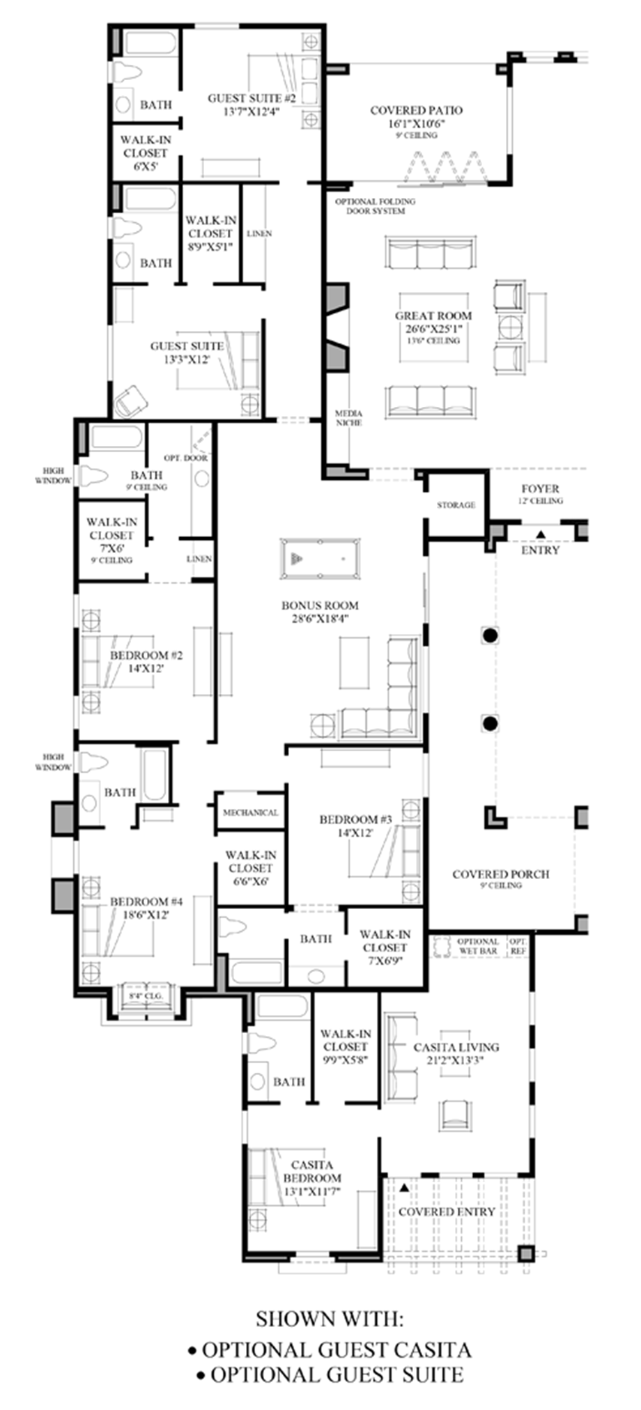 Optional Guest Casita & Guest Suite Floor Plan