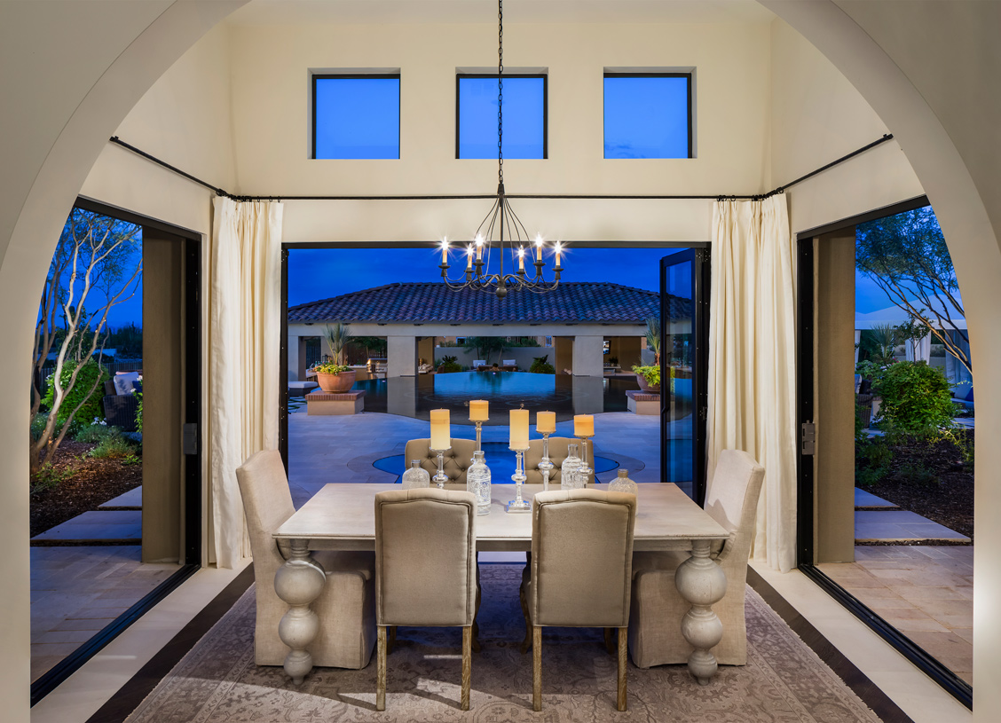 Unique three-sided casual dining area with direct outdoor access