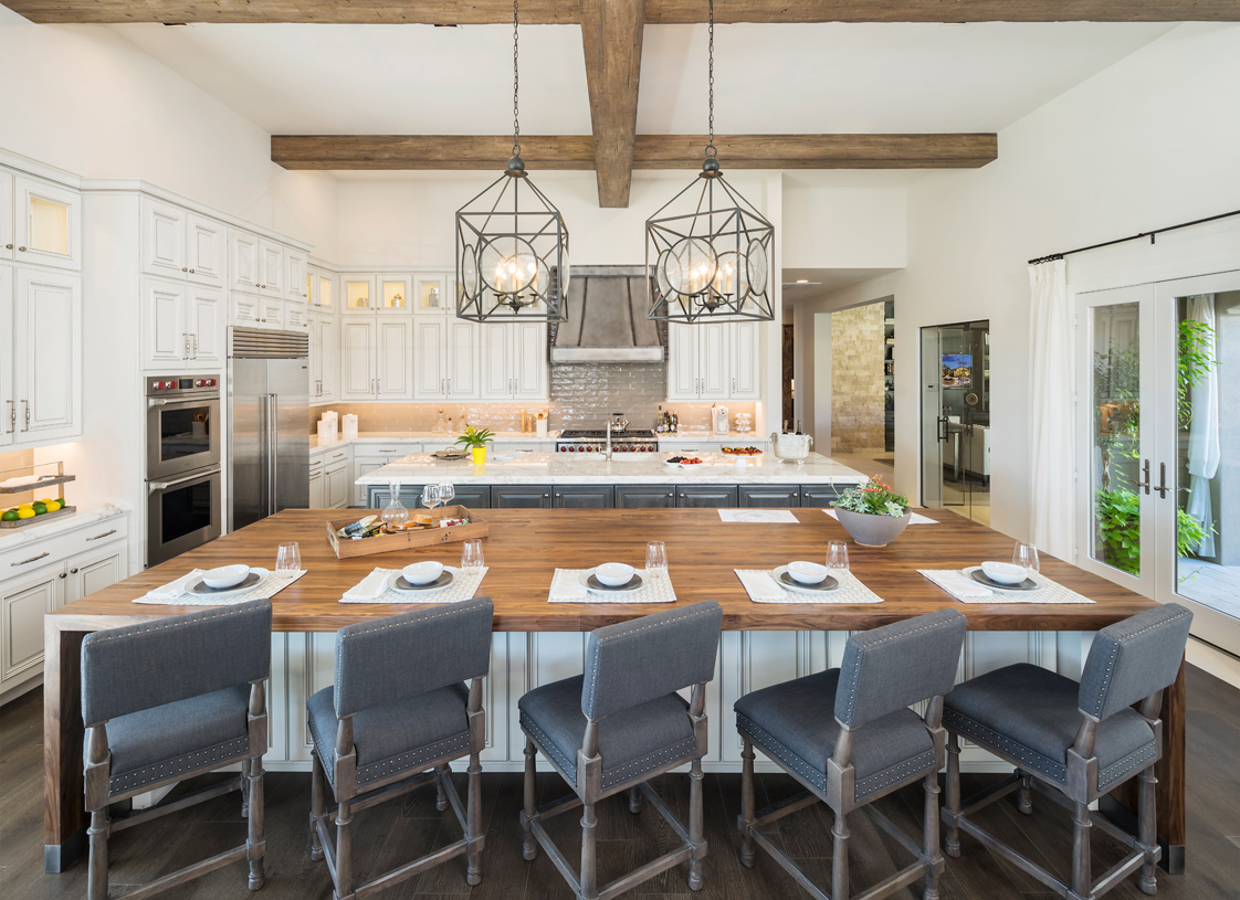 Well-appointed kitchen overlooking an interior courtyard