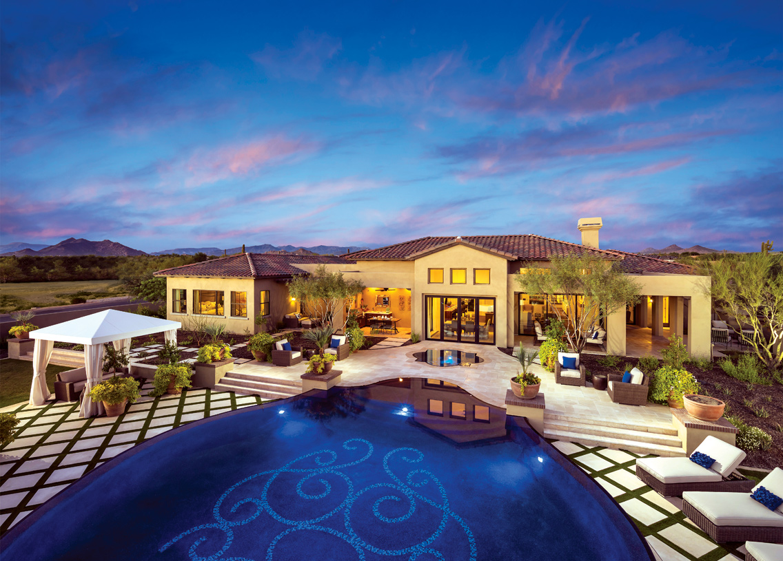 Expansive covered porches and resort-style backyard provide great accommodations for outdoor entertaining
