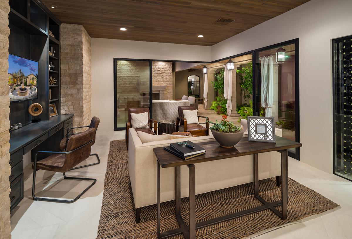 Versatile bonus room overlooks central courtyard