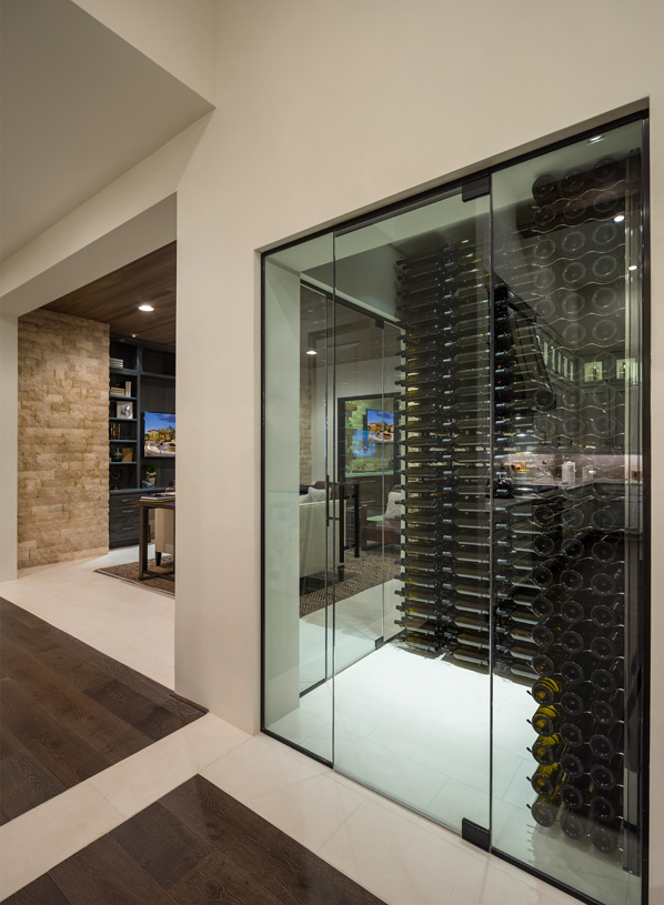 Exceptional wine room at center of home