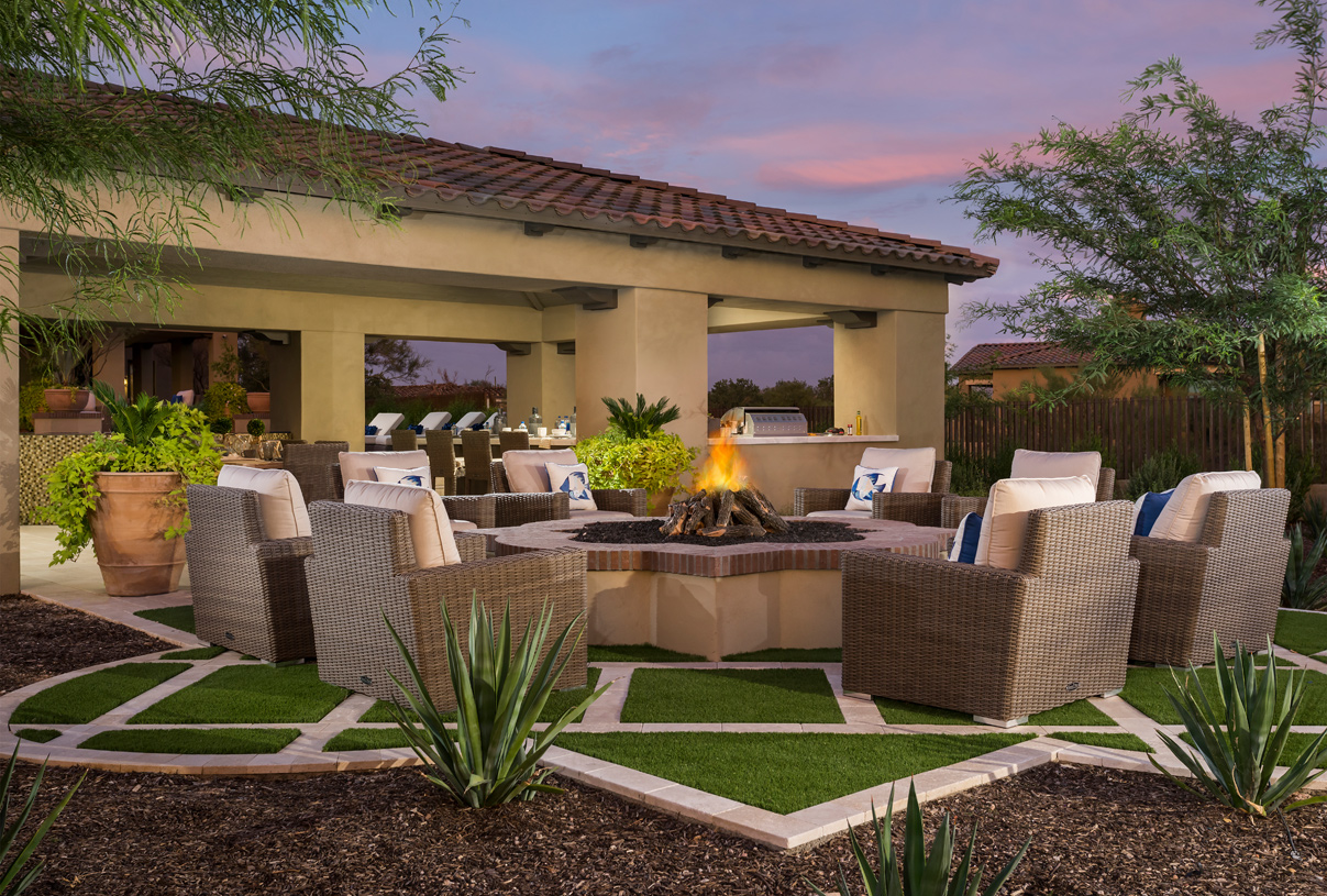 Cozy outdoor gathering area with firepit