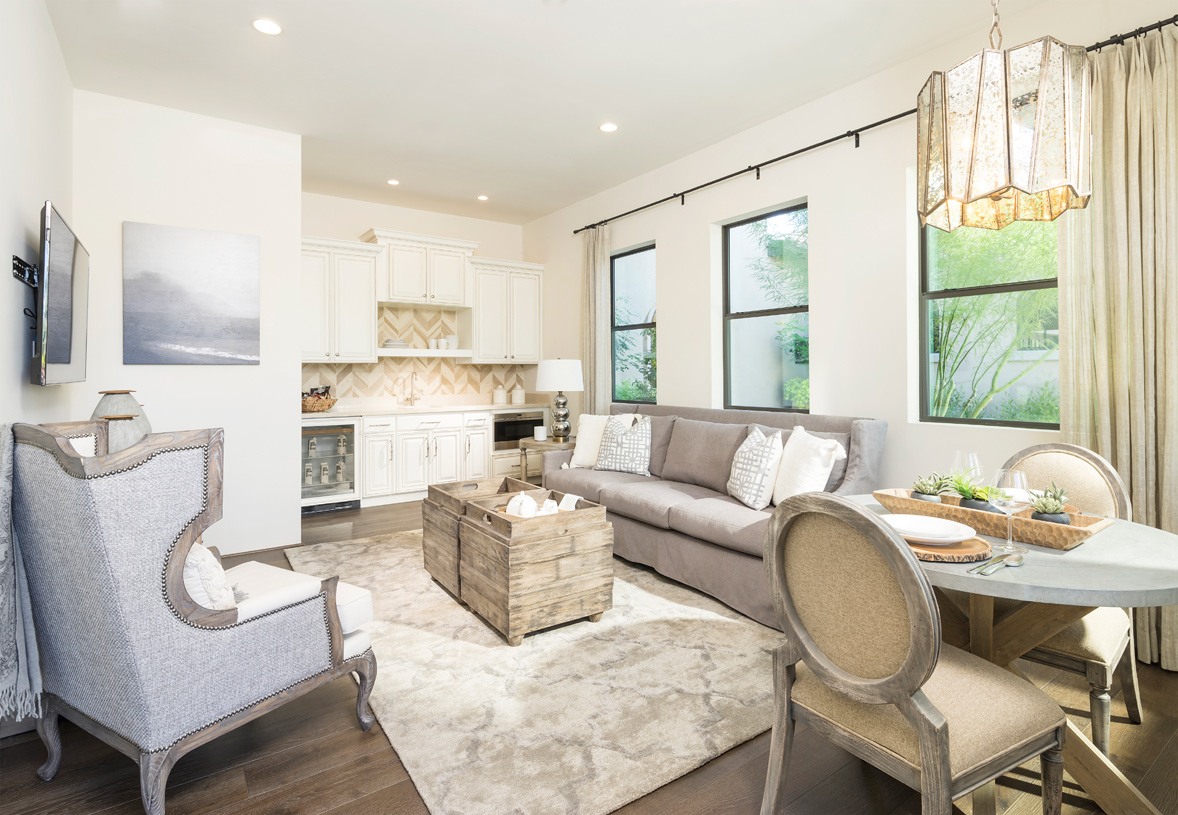 Secluded multi-gen suite with living area and wet-bar