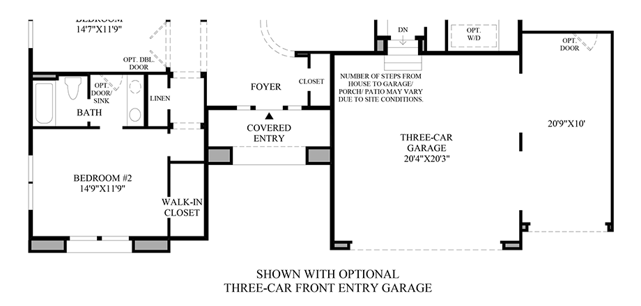 Optional Three-Car Front Entry Garage Floor Plan
