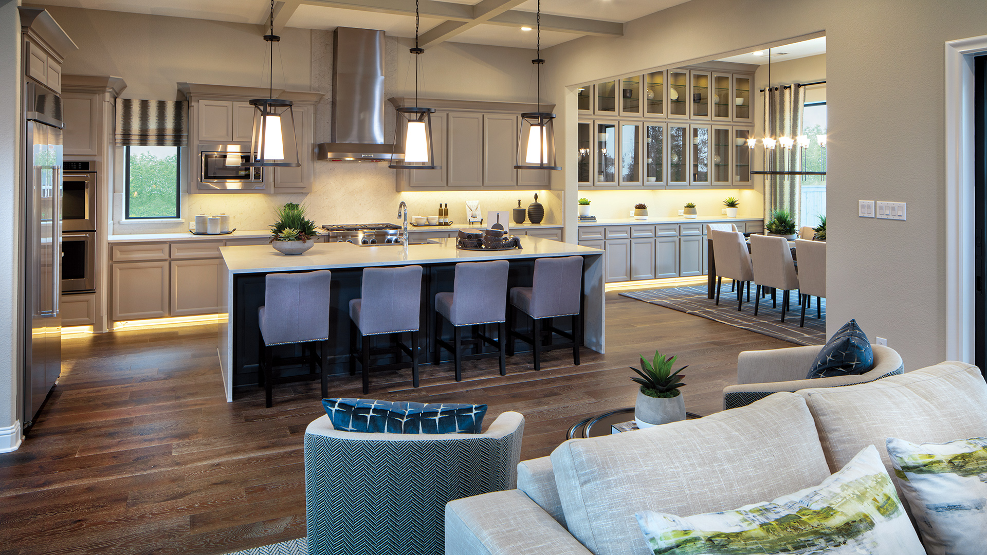 The well-appointed kitchen of the Valen model home