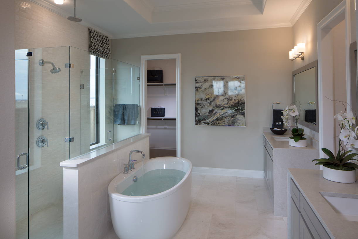 Primary bath with dual vanities, shower, and soaking tub