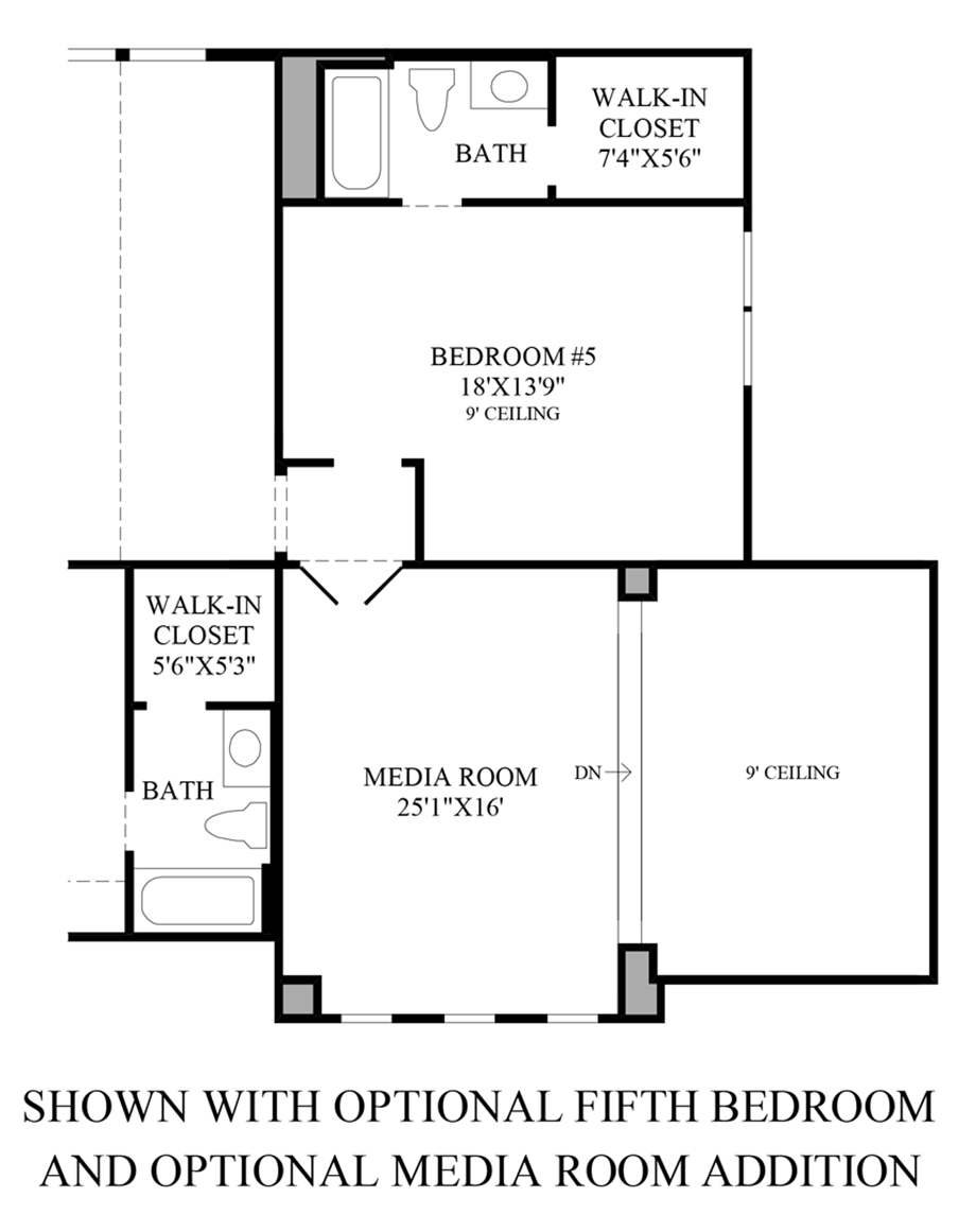 Optional 5th Bedroom and Optional Media Room Addition Floor Plan