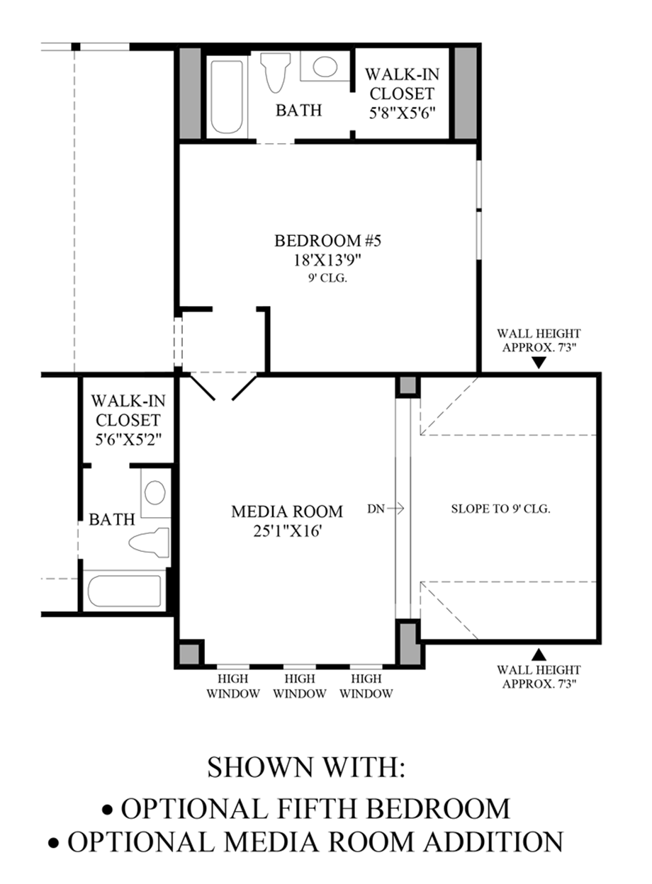 Optional 5th Bedroom & Media Room Addition Floor Plan