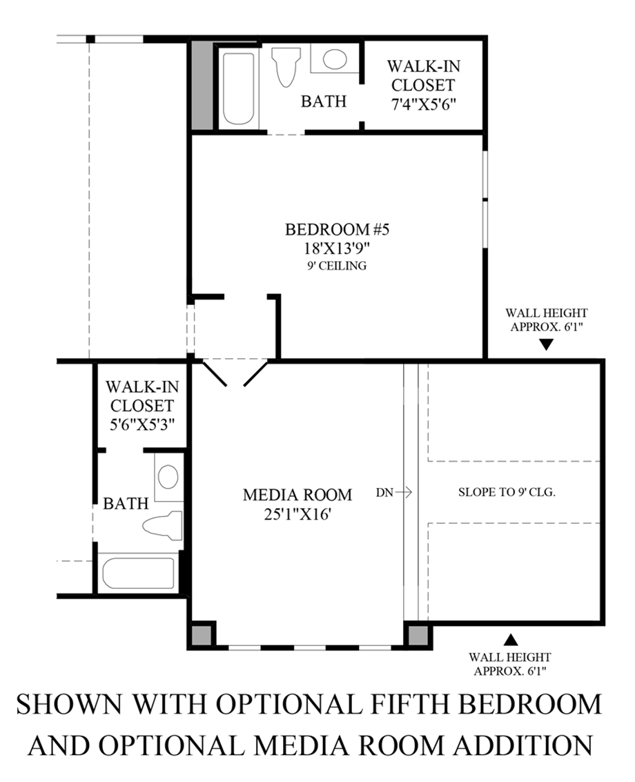Optional 5th Bedroom/Media Room Addition Floor Plan