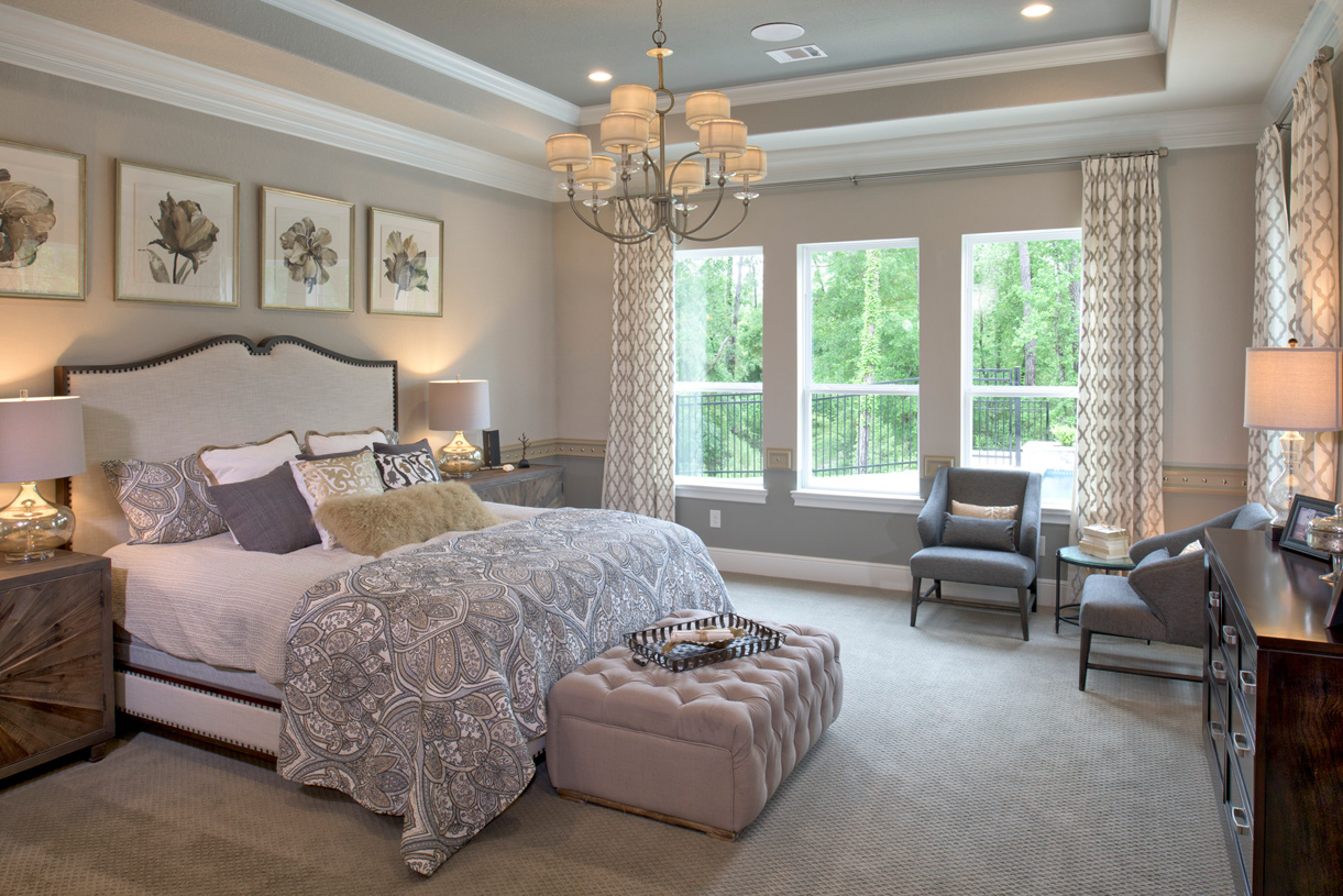 Desirable first-floor primary bedroom suite boasts a tray ceiling