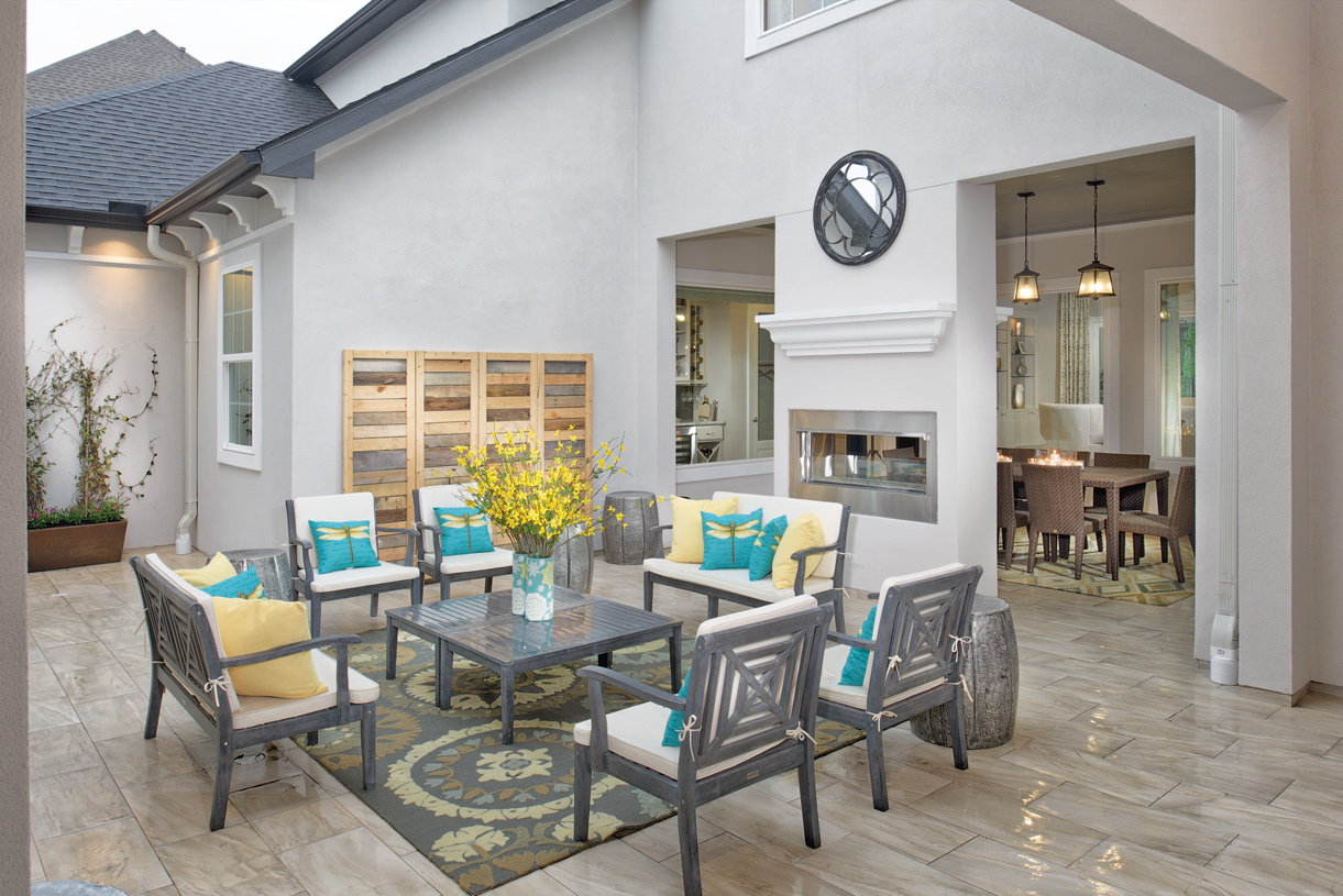 Interior courtyard and covered porches make it easy to enjoy outdoor entertaining