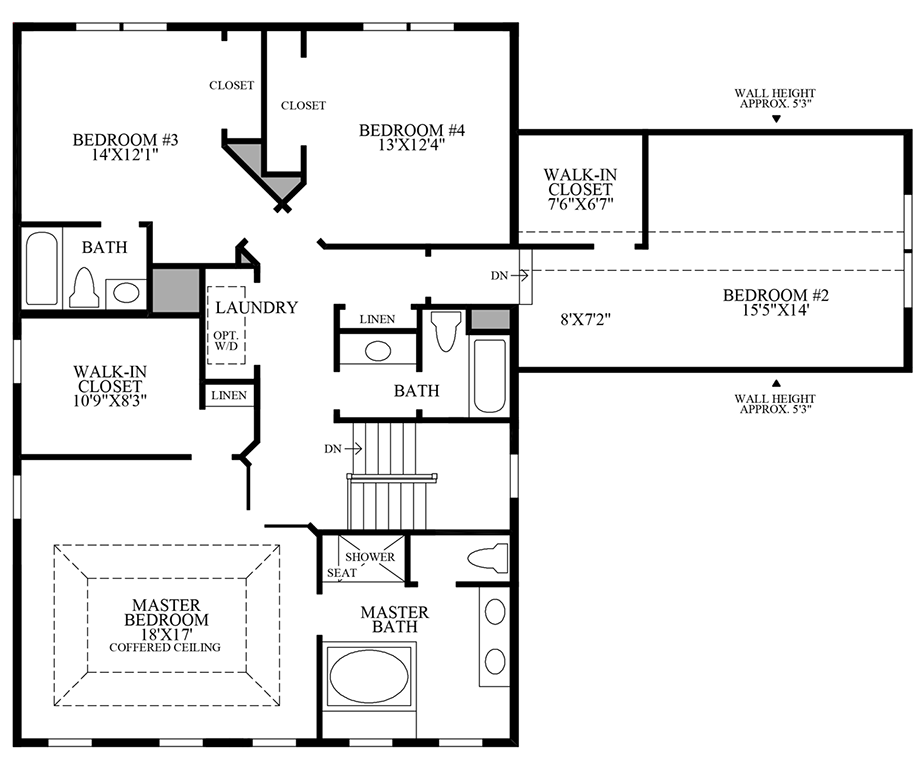 Additional Bath with Alternate 2nd Floor with Alternate Laundry Location Floor Plan