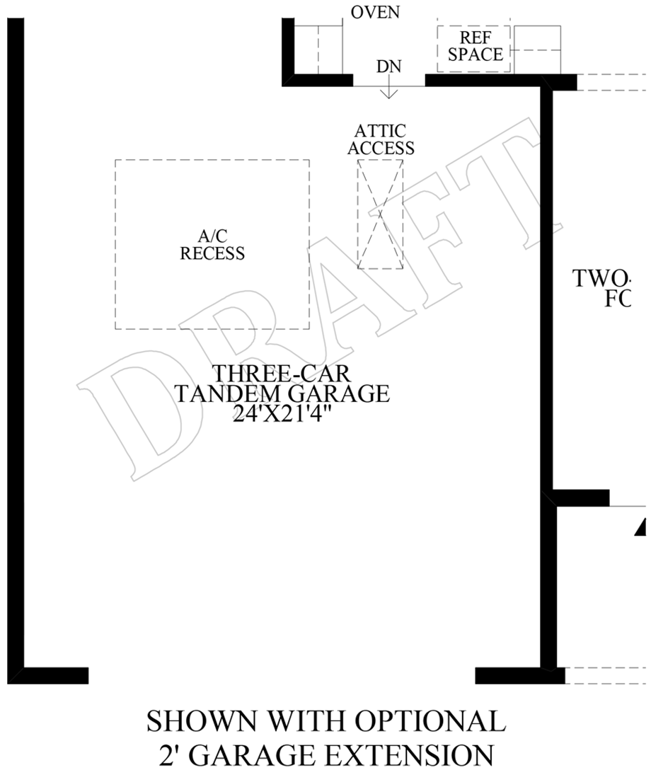 Optional 2' Garage Extension Floor Plan