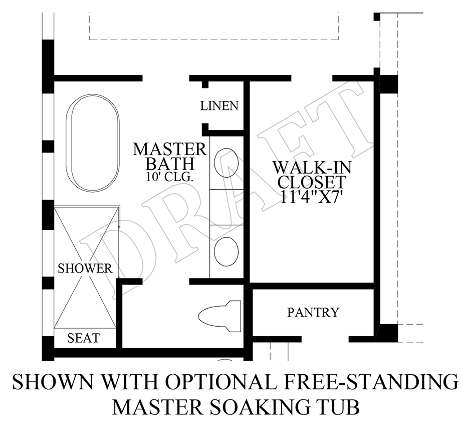Optional Free-Standing Master Soaking Tub Floor Plan