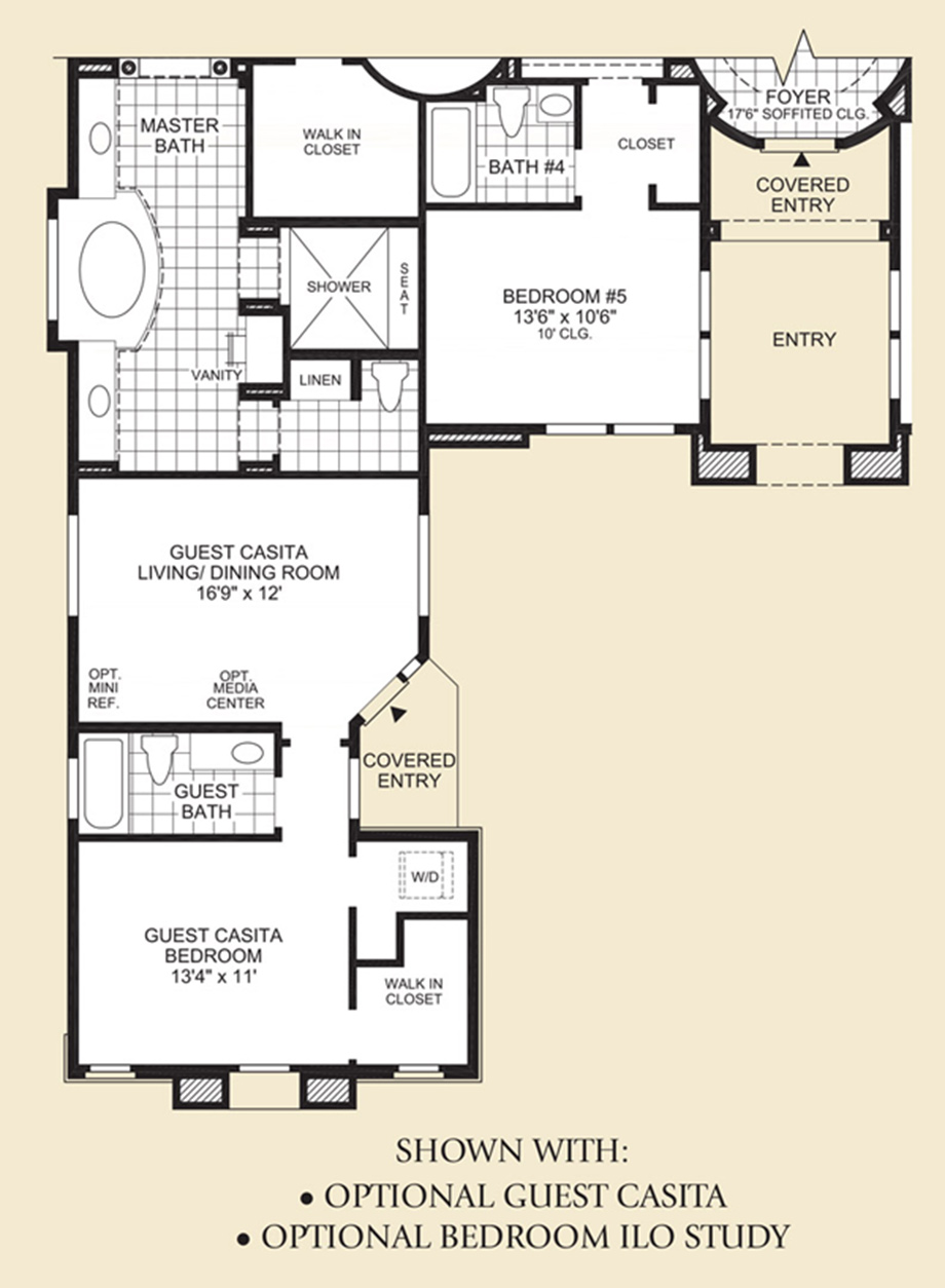 Optional Guest Casita/Bedroom ILO Study Floor Plan