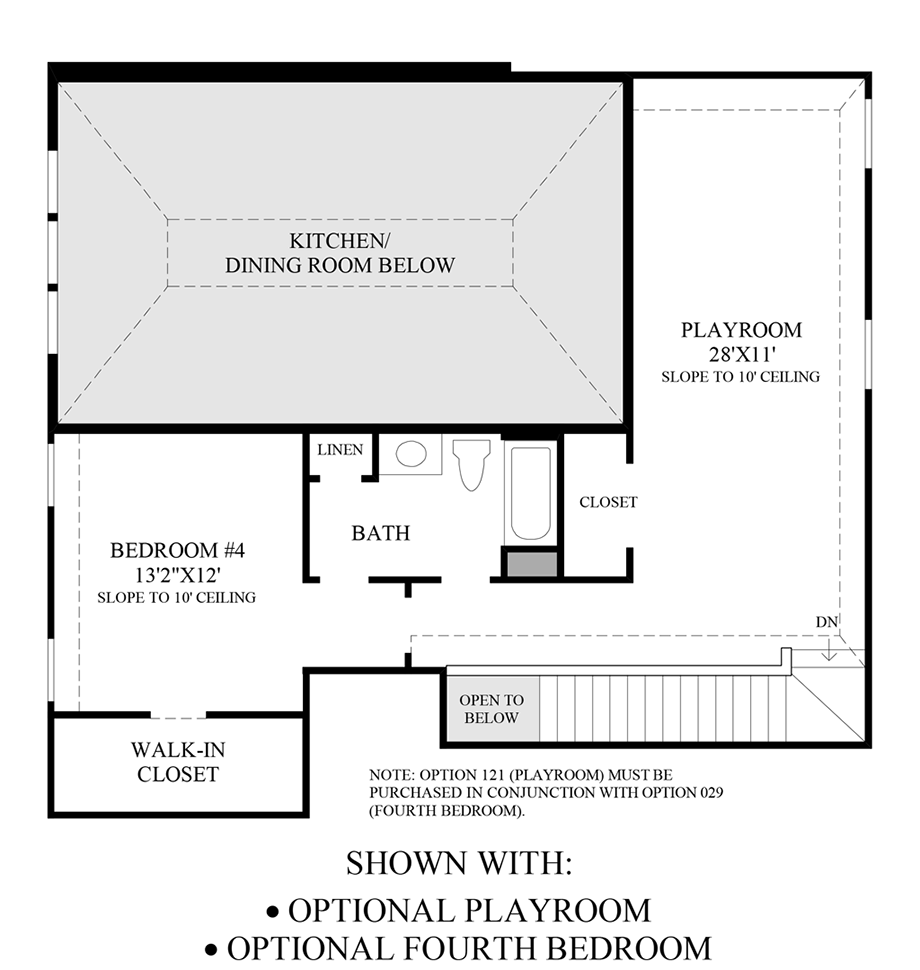 Optional Playroom & 4th Bedroom Floor Plan