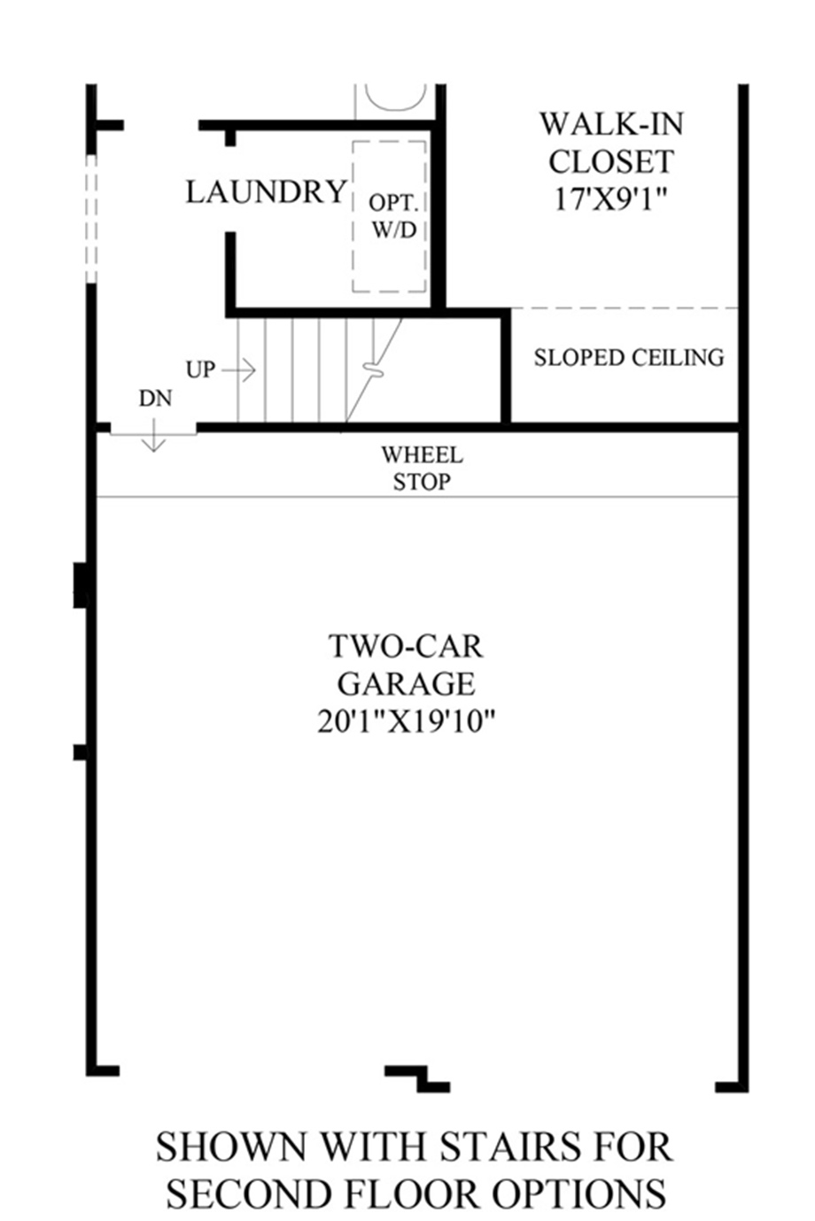 Stairs to optional 2nd floor floor plan - Stairs to second floor design ...