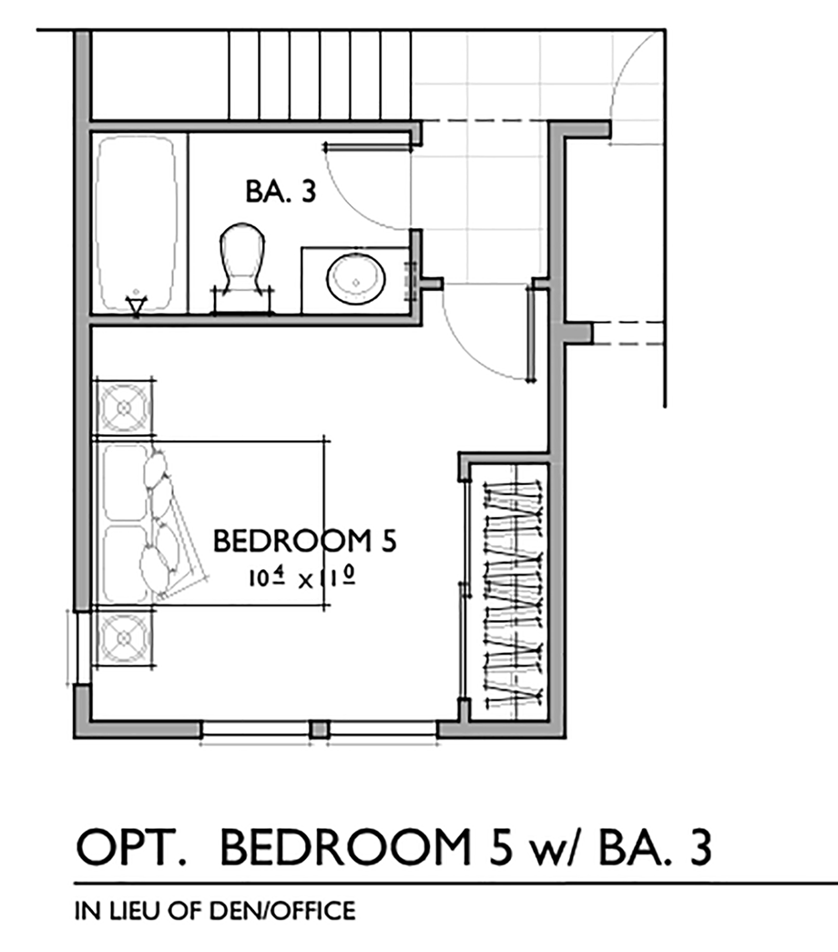 Optional Fifth Bedroom with Bath Floor Plan