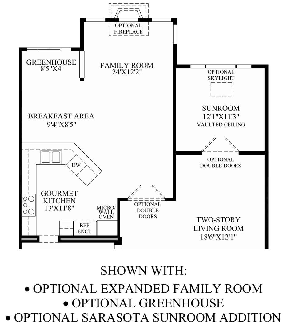 Optional Expanded Family Room, Greenhouse, and Sarasota Sunroom Addition Floor Plan