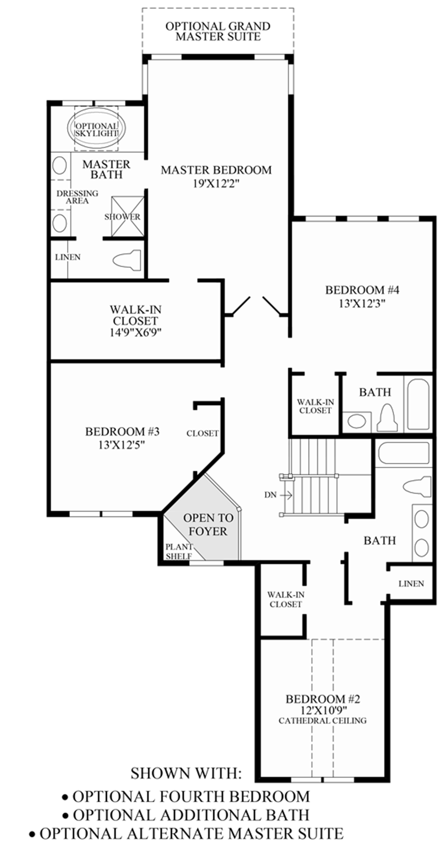 Optional 4th Bedroom, Additional Bath & Alternate Master Suite Floor Plan