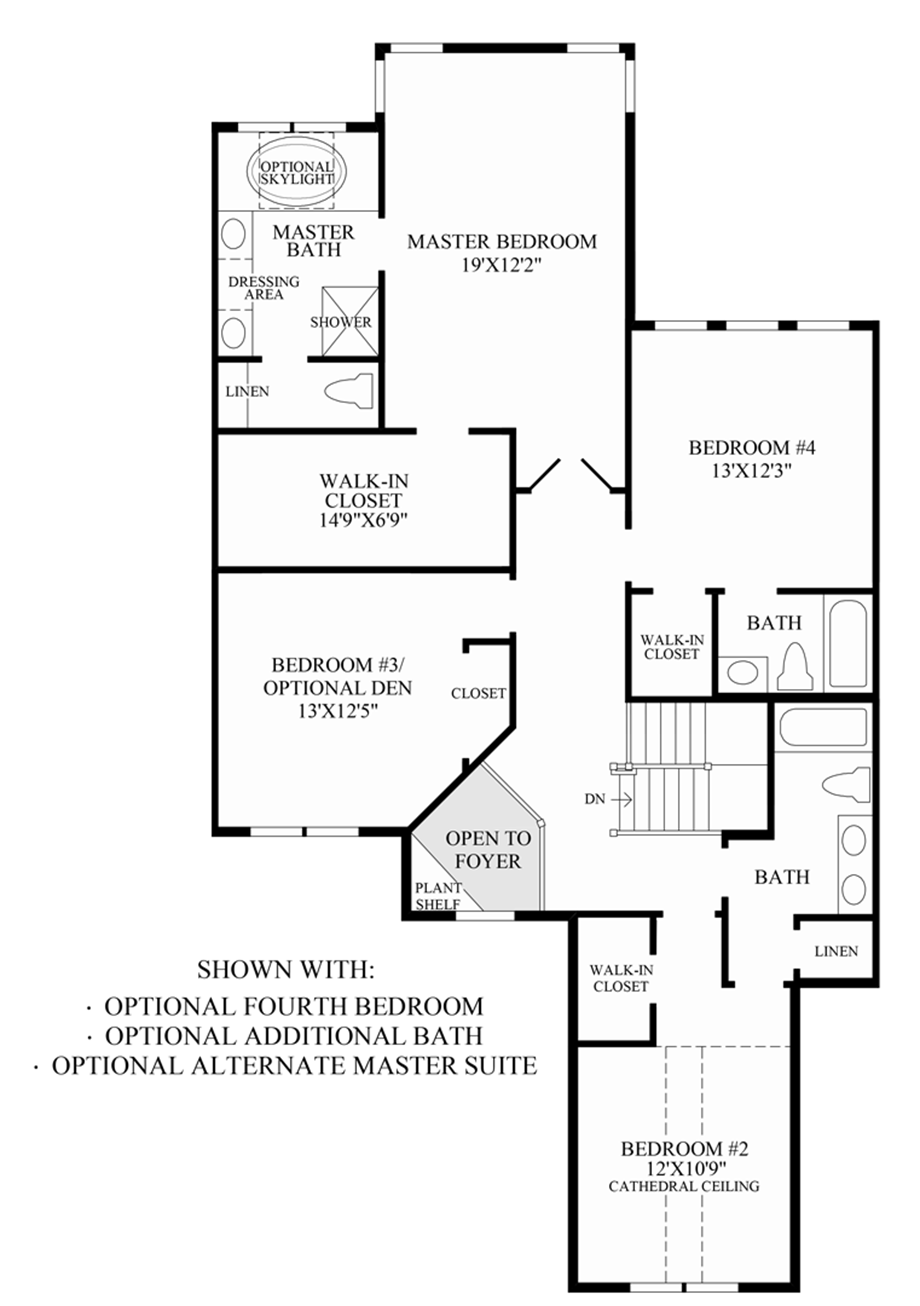 Optional 4th Bedroom/Additional Bath/Alternate Master Suite Floor Plan