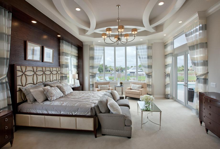 Royal palm polo signature collection the villa lago Model home master bedroom decor
