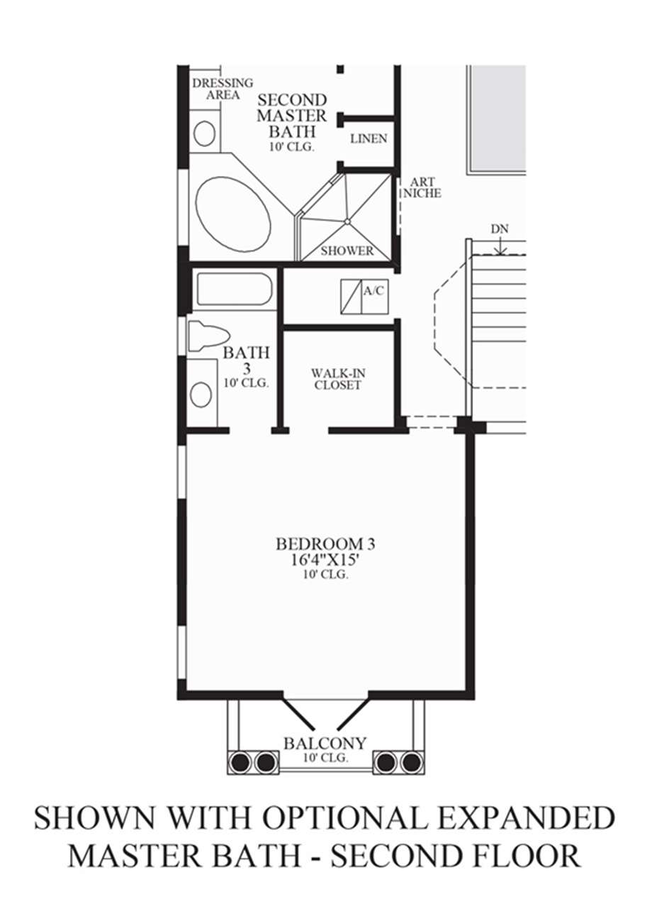 Optional Expanded Master Bath - 2nd Floor Floor Plan
