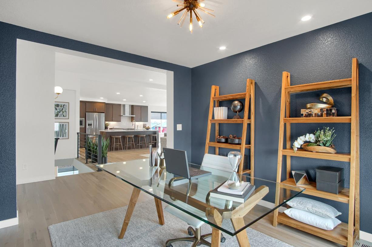 Turn the main level flex room into an at-home office or study space