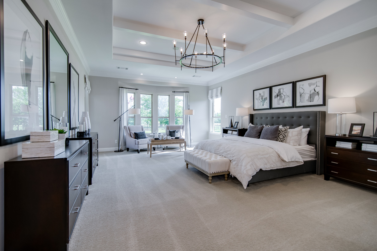 First-floor primary bedroom suite features a tray ceiling