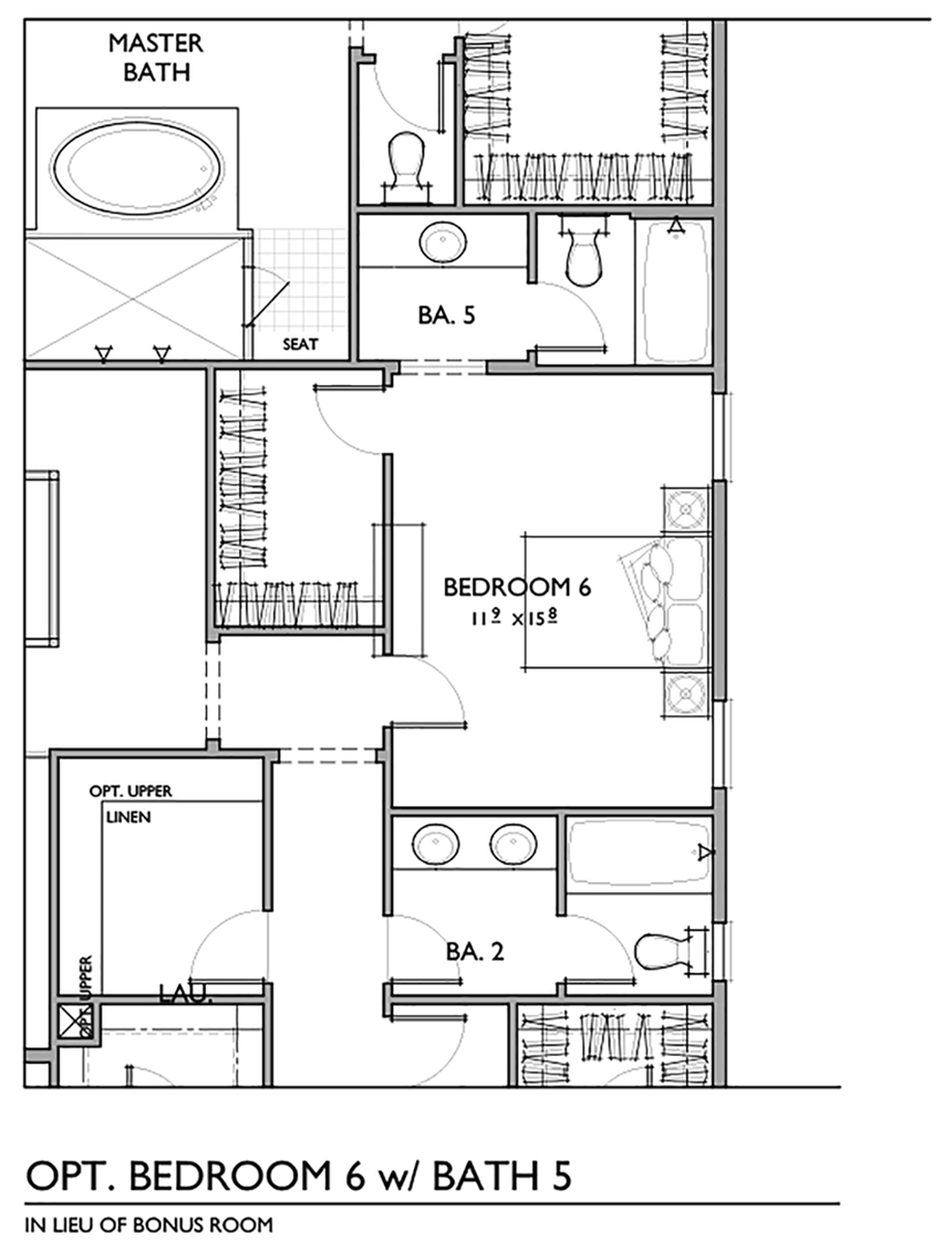Optional Sixth Bedroom with Bath Floor Plan