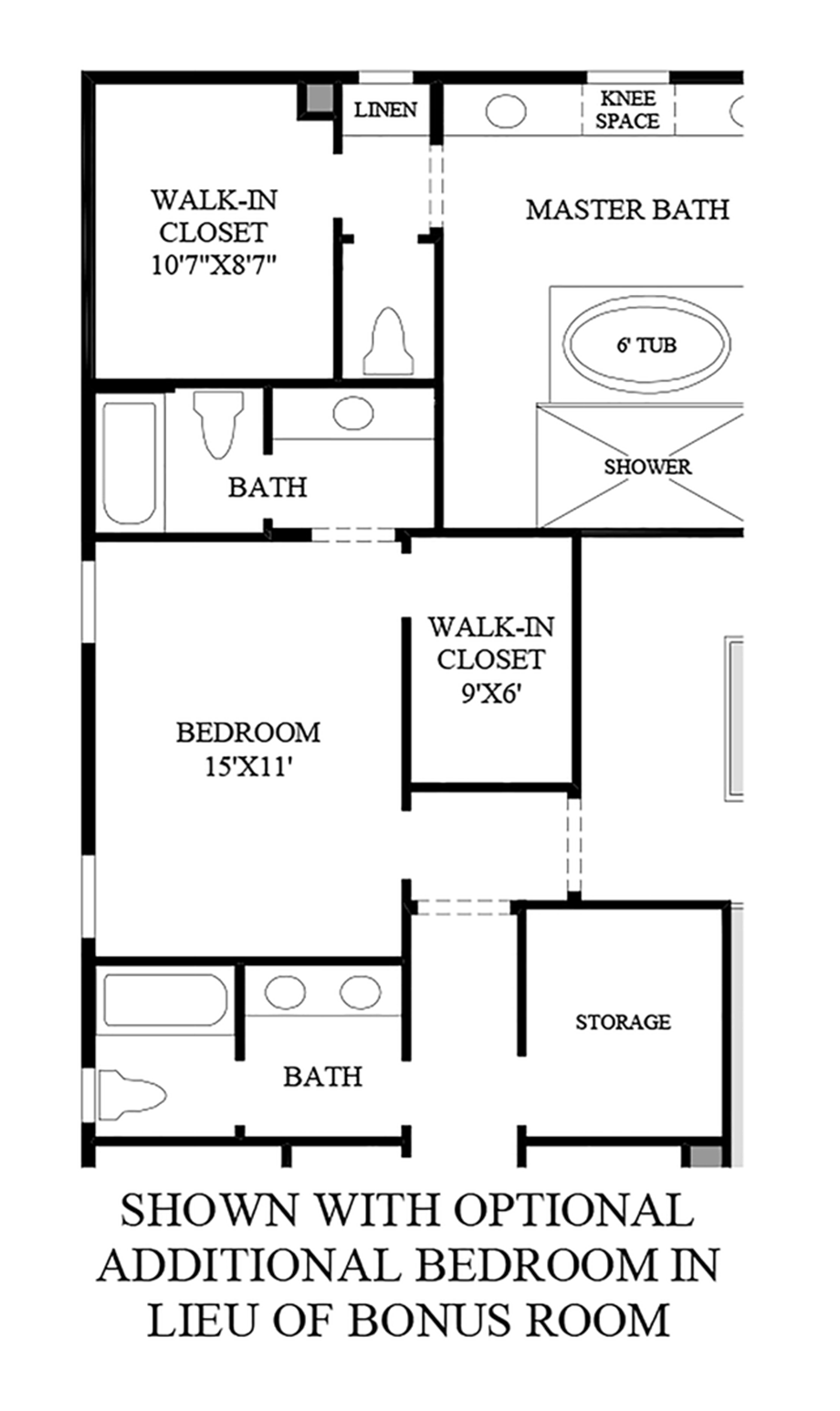 Optional Additional Bedroom in lieu of Bonus Room Floor Plan