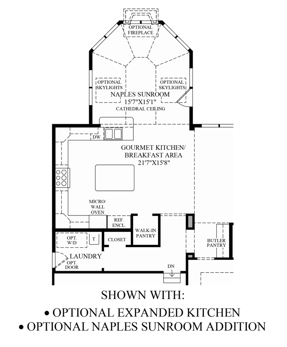 Optional Expanded Kitchen/Naples Sunroom Addition Floor Plan